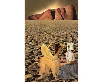 Surreal collage art print, Original artwork, Surrealism, Dystopian landscape, Environmental art, Strange art, Creatures, Future art, Sci Fi