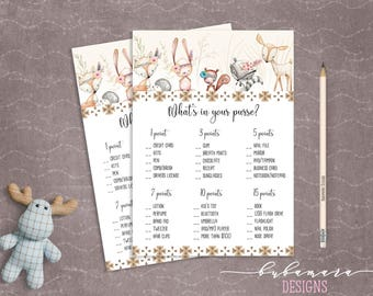 Woodland Animals Whats in your Purse Baby Shower Game Cute Animals Fox Deer Squirrel Gender Neutral Printable Trivia Quiz Activity - CG007