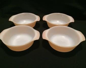 Set of 4 Fire King peach lustre casserole bowl dish 8 oz anchor hocking 472
