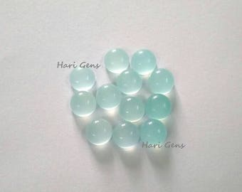 5 pieces 10mm Aqua chalcedony round cabochon loose gemstone - Natural Aqua chalcedony cabochon round - flat back smooth cabochon chalcedony