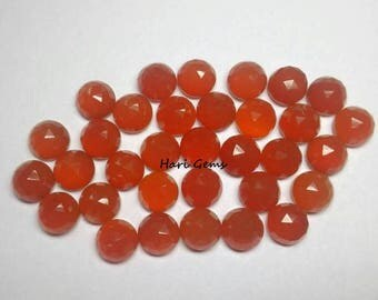 10 Pieces 4mm Carnelian Rose Cut Cabochon Round Gemstone AAA+ Quality Natural Orange Carnelian RoseCut Round Cabochon Loose Gemstone