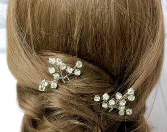 Fairytale Gift 3 Bridal Hair Pin Wedding Hair Pin Rhinestones Hair Pin Bridal Hairpin Bridal hair piece Wedding hair piece Silver