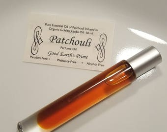 PATCHOULI Essential Oil Perfume, calming, relaxing, sensual roll-on perfume, metal ball with glass bottle and silver cap 10 ml