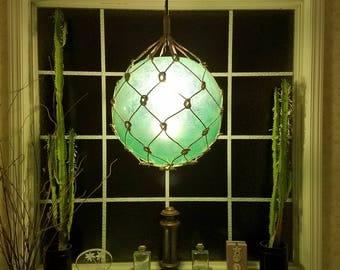 Large Nautical Light Pendant, Green, Tiki, Fishermans Float, Rope Lamp, Beach Decor, Nautical Home Decor, Fishnet, Sea, Sailing