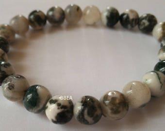 Tree Agate, of health, 8 mm single stone bracelet