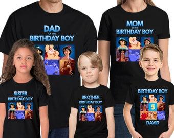 Aladdin Shirt Custom  Name & Age Personalized Aladdin Birthday Shirt Family Birthday Shirts