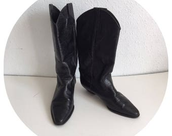 Vintage 80's Real leather Faux snakeskin Black Cowboy boots Size UK 5.5/ Euro 38.5