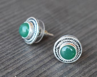 Green Onyx Stud Earring | Round stone earring | Birthday gift jewelry earring | Bezel set stud jewelry | Valentine days everyday stud | E7