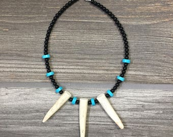 Black and Turquoise Triple Deer Antler Tine Necklace