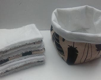 Reversible basket with 6 washable wipes