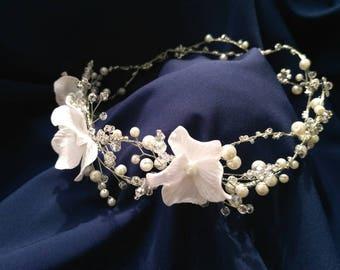 Bridal hair flower diadema Wedding hair Bridal Flower headpiece Flower hair piece Floral Hair Comb Bridal clip