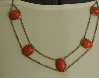 A Different/Unique Necklace with Red Stones and Double Chain