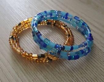 Blue or Topaz Mix Wrap Around Czech Glass Memory Wire Bracelet