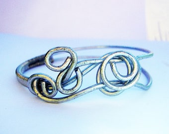 Bangle Bracelet, Steel Bangle Bracelet, Wire Wrapped Bracelet, Steel Bracelet, Industrial Jewelry, Minimalist Jewelry, Bangles, Bracelets