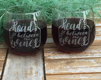 Stemless Wine Glass-Engraved-Read Between The Wines-Etched-(Set of 8)
