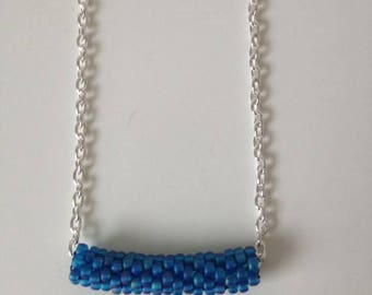Peyote stitch tube blue necklace