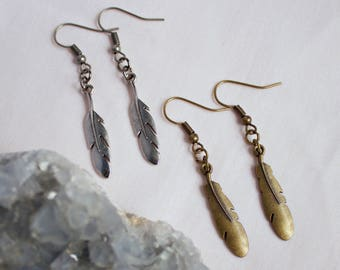 Antique Bronze Bohemian Feather Charm Drop Earrings