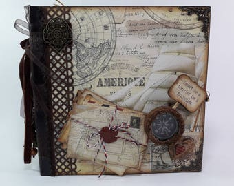 "Scrapbook Handmade Travel Mini Album Journal 8.66"" x 8.66"" #25"