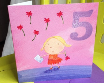 Age 5 Birthday Card ~ Girl with Envelope
