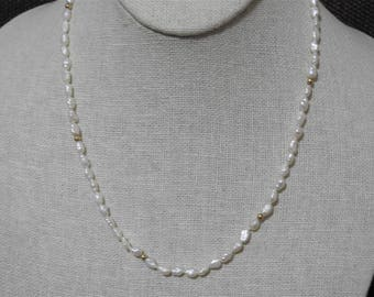 beautiful vintage 14k gold and genuine freshwater pearls necklace 19 inches