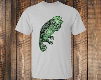 Tshirt Chameleon - Grey - Handprinted - Blockprinted