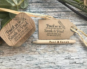 WEDDING STAMP, save the date, pencil us in, with Engraved pencil, custom stamp, wedding stamp, wedding invitation stamp, wedding RSVP