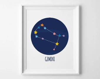 Gemini Constellation, Zodiac Constellation,Gemini Print, Gemini Wall Art, Gemini Home Decor, Gemini Wall Decor, Zodiac Print, Gemini Stars