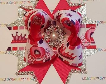 Princess Hair Bow, Princess Bow, Pink Bow, Princess Carriage Bow, Carriage Bow