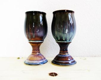 Ceramic Wine Goblets, Wine Chalice, Wine Goblets,  set of 2