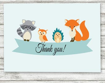 Baby Shower Thank You Card, Woodland Animal Baby Shower Thank You Card, Woodland Shower Thank You Card, Shower Thank You Card - Printable