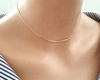 24k gold plated choker,dainty choker,delicate chain choker,layering necklace,gold snake chain necklace,24k gold plated snake chain choker