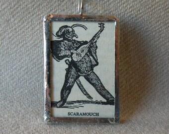 Scaramouche -  Italian commedia dell'arte - Handmade Soldered Glass Pendant with B&W Vintage Dictionary Illustration