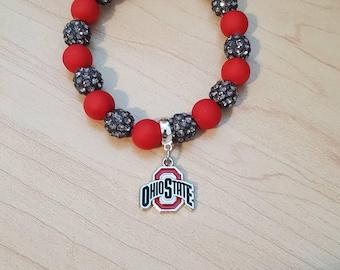 Ohio State Buckeyes OSU ruby and porpoise bracelet