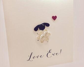 Love Ewe - Handmade Little Sheep Quilled greetings card