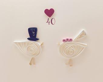 40th / Ruby Wedding Anniversary! - Little Lovebirds - Handmade Quilled Engagement Card