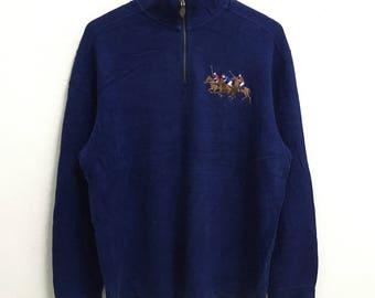 RARE!!! Polo Ralph Lauren Big Pony Embroidery Half Zipper Dark Blue Colour Sweatshirts Hip Hop Swag L Size