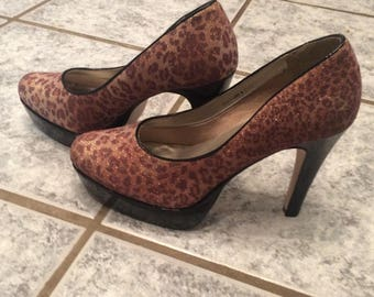Leopard Look Pumps, size 10,5 US Size, Leopard look pumps, size 41/42, platform shoes, high heels, vintage, platform pumps