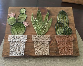 Succulent cacti wall art decor colorful and modern plant - String art modele ...