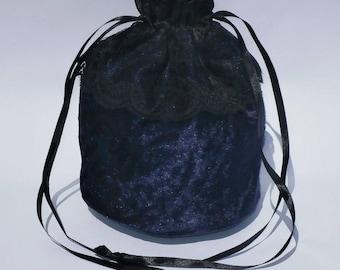 "Navy Blue Crushed Velvet & 3"" Lace Dolly Evening Handbag / Purse Wedding Bridesmaid Bag Drawstring"