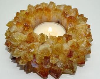 "Pretty 4"" Citrine Lotus Flower Candle Holder #3L"