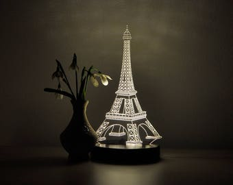 Eiffel Tower Decor LED Night Light Eiffel Tower Gift 3D Night Light Bedroom  Decor LED Light