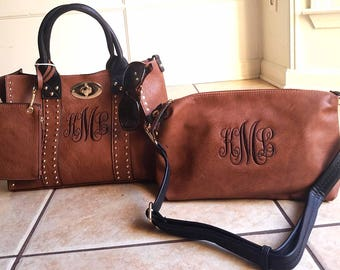 Monogrammed Purse and cosmetic Grommet bag 2pc set in Dark Brown - Personalized handbags