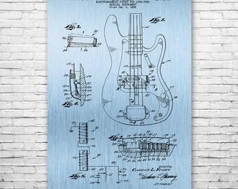 Fender Precision Bass Guitar Poster Patent Print Gift FREE SHIPPING, Fender Poster, Fender Wall Art, Bassist Gift, Guitar Player Gift, Vint