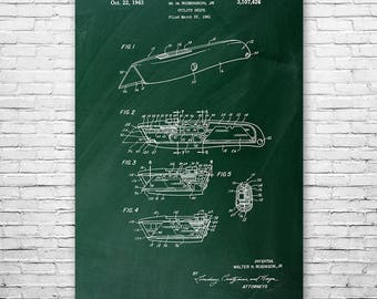Utility Knife Box Cutter Poster Patent Print Gift, Warehouse, Utility Knife Poster, Utility Knife Design, Box Cutter Design, Patent Print
