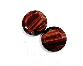 33Cts Red Tiger Eye Loose Gemstones Round Rose Cut Shape Excellent Top Quality Natural Red Tiger Eye Jewelry Making 20X20X5mm 2 Pieces Pair