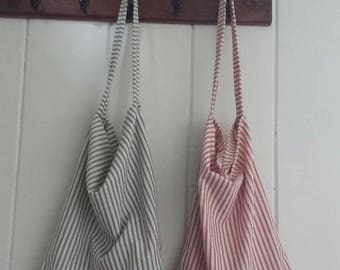Tote, farmers market bags, tote bags, striped tote, reusable grocery bag, produce bag, reusable produce bag, ticking market bag,red ticking