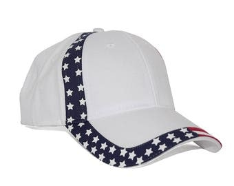 United States American Flag Pattern Cotton Twill Six Panel Low Profile Baseball Cap - Men and Women - One Size Fits All