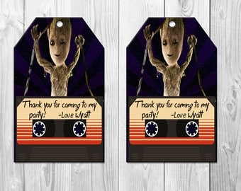 Baby Groot Birthday Party Favor Tags, Guardians of the Galaxy, Baby Groot Favors, Baby Groot Thank You Card