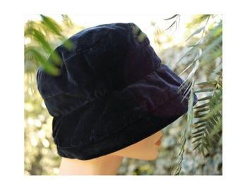 Cappello vintage 70s/ Blu scuro/velluto di cotone/Floppy hat/taglia piccola/size small/Made in Italy