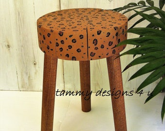 Plant Stand, Cheetah Print, Outdoor Low Side Table, Reclaimed Wooden Plant Stand, Cheetah Decor, Safari Decor